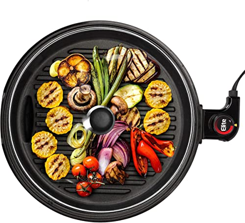 Elite Gourmet EMG6505G Large Indoor Electric Round Nonstick Grill Cool Touch Fast Heat Up Ideal Low-Fat Meals Easy to Clean Design Dishwasher Safe Includes Glass Lid