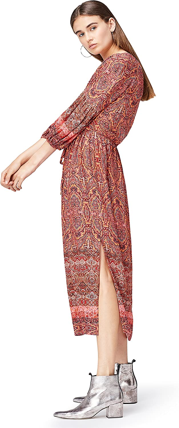 TALLA 40 (Talla del Fabricante: Medium). Marca Amazon - find. Vestido Midi Boho  Mujer Multicolor (Orange Mix) 40 (Talla del fabricante: Medium)