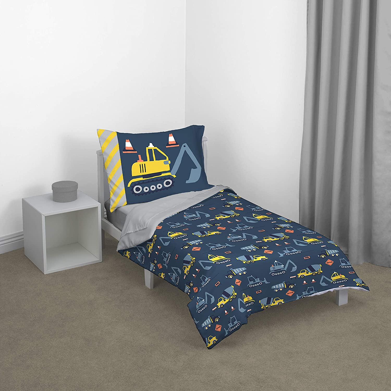 Carter'S Construction Time Toddler Bed Set, Navy, Yellow, Grey, Orange