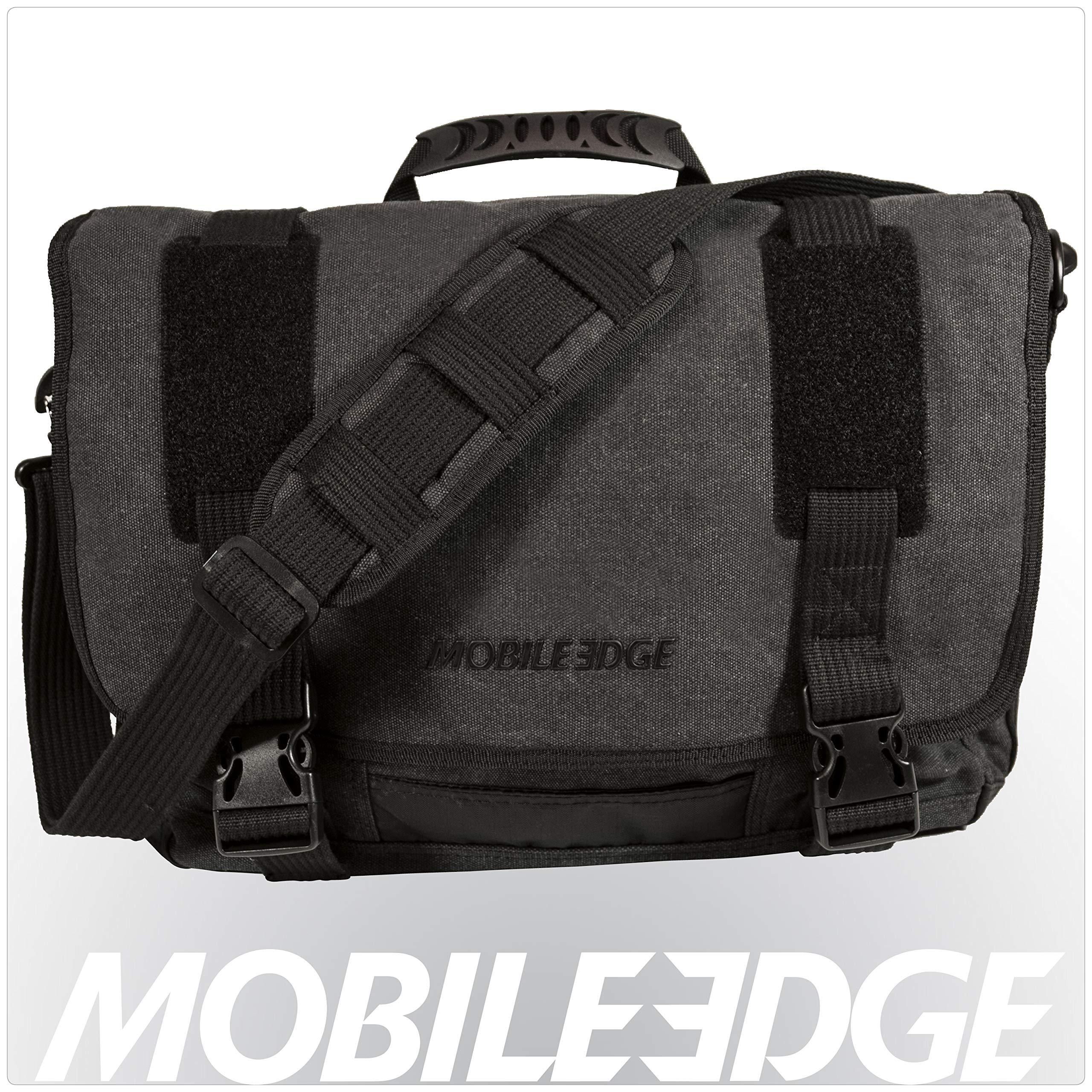 Mobile Edge Laptop/Tablet 14.1'' Ultrabook or 15'' MacBook Eco-Friendly Messenger Bag, Cotton Canvas, Charcoal for Men, Women, Business, Student MEUME5