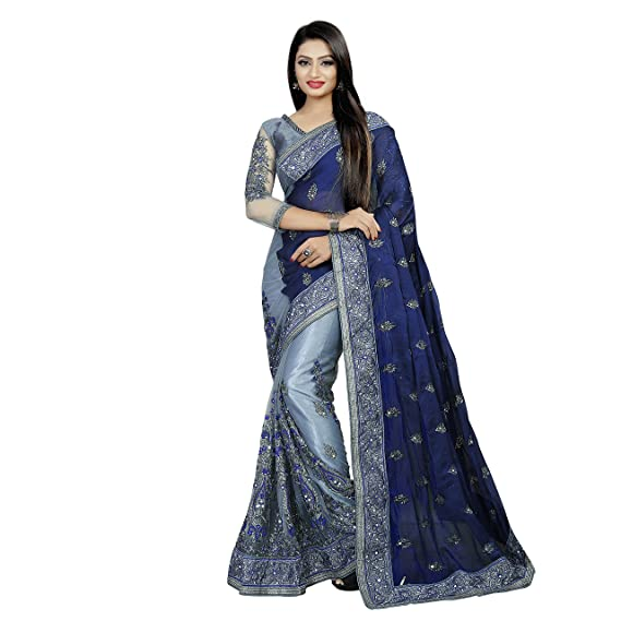 Buy I Trendz Saree For Women Latest Design Party Wear Collection Girl With Blue Grey Color Sana Silk Net Saree With Embroidery With Real Mirror Work Unstiched Blouse Piece Stylish Heavy Work Low,Attractive Simple Butterfly Corner Border Designs For Projects
