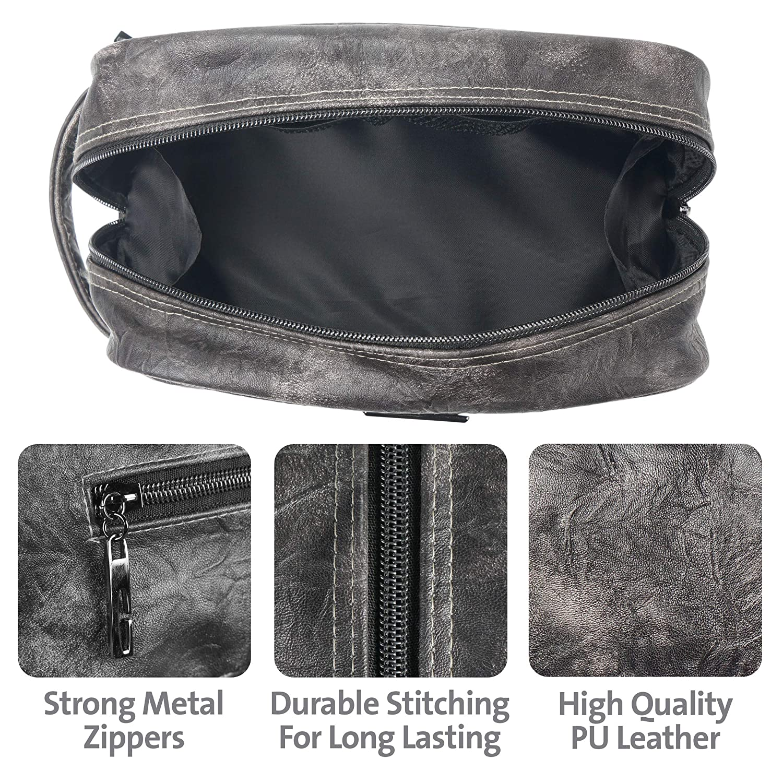 21e5db778e7e Amazon.com   LVLY Dopp Kit Leather Toiletry Bag for Men - Travel Bags for  Shaving Grooming and Bathroom Toiletries   Beauty