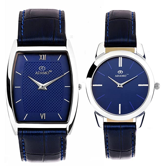 Slim Analogue Blue Dial Unisex Couple Watch Combo