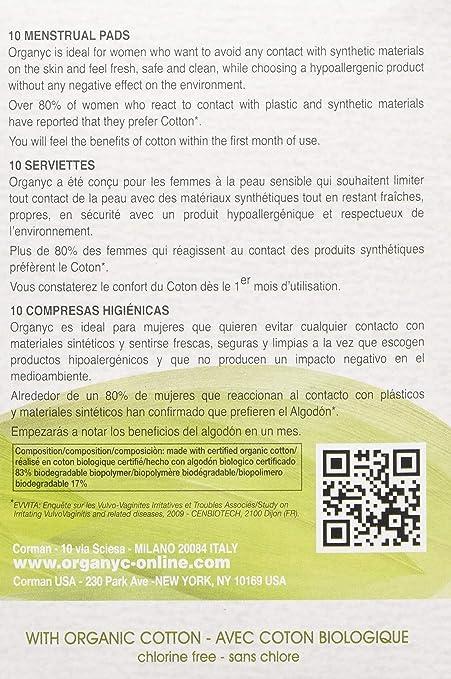 Organyc - Toallas sanitarias de noche con alas en bolsa individual, 10 unidades: Amazon.es: Salud y cuidado personal