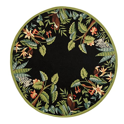 Safavieh Chelsea Collection HK295B Hand-Hooked Black and Green Premium Wool Round Area Rug 5 6 Diameter