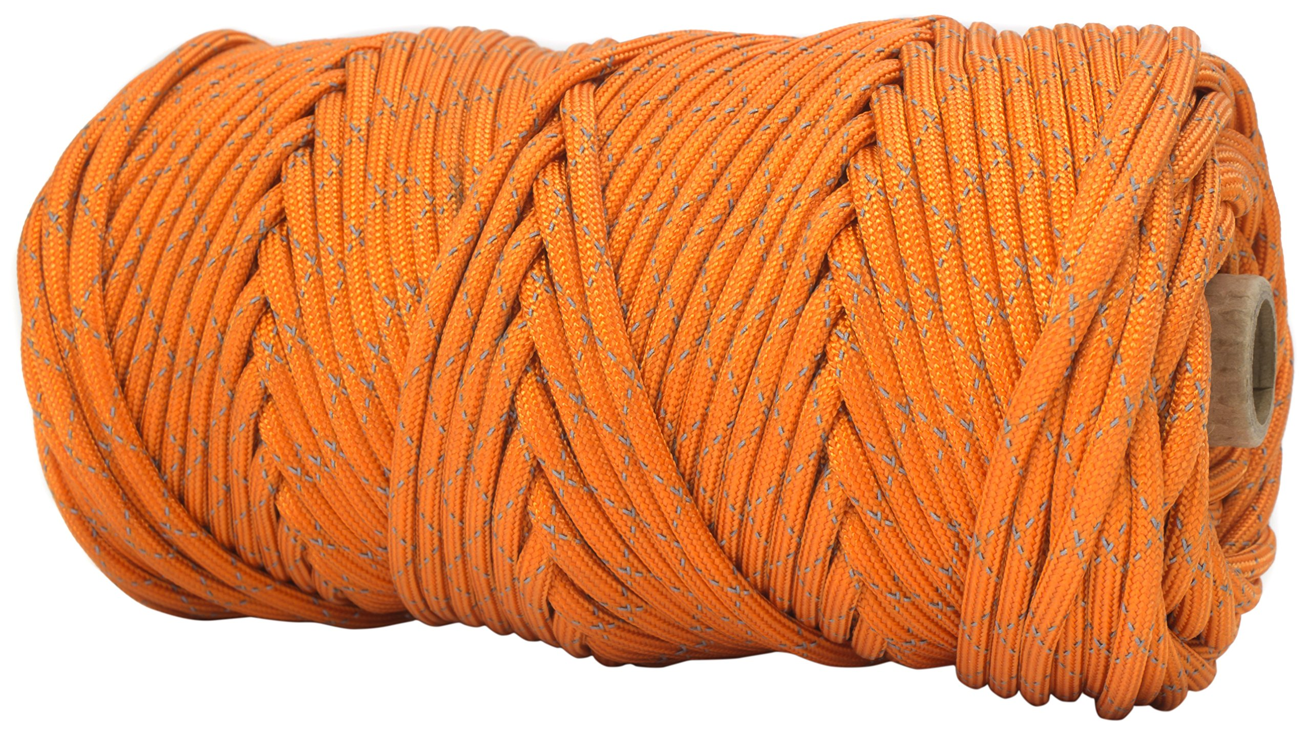 TOUGH-GRID New 700lb Double-Reflective Paracord/Parachute Cord - 2 Vibrant Retro-Reflective Strands for The Ultimate High-Visibility Cord - 100% Nylon - Made in USA - 100Ft. Neon Orange Reflective by TOUGH-GRID (Image #2)