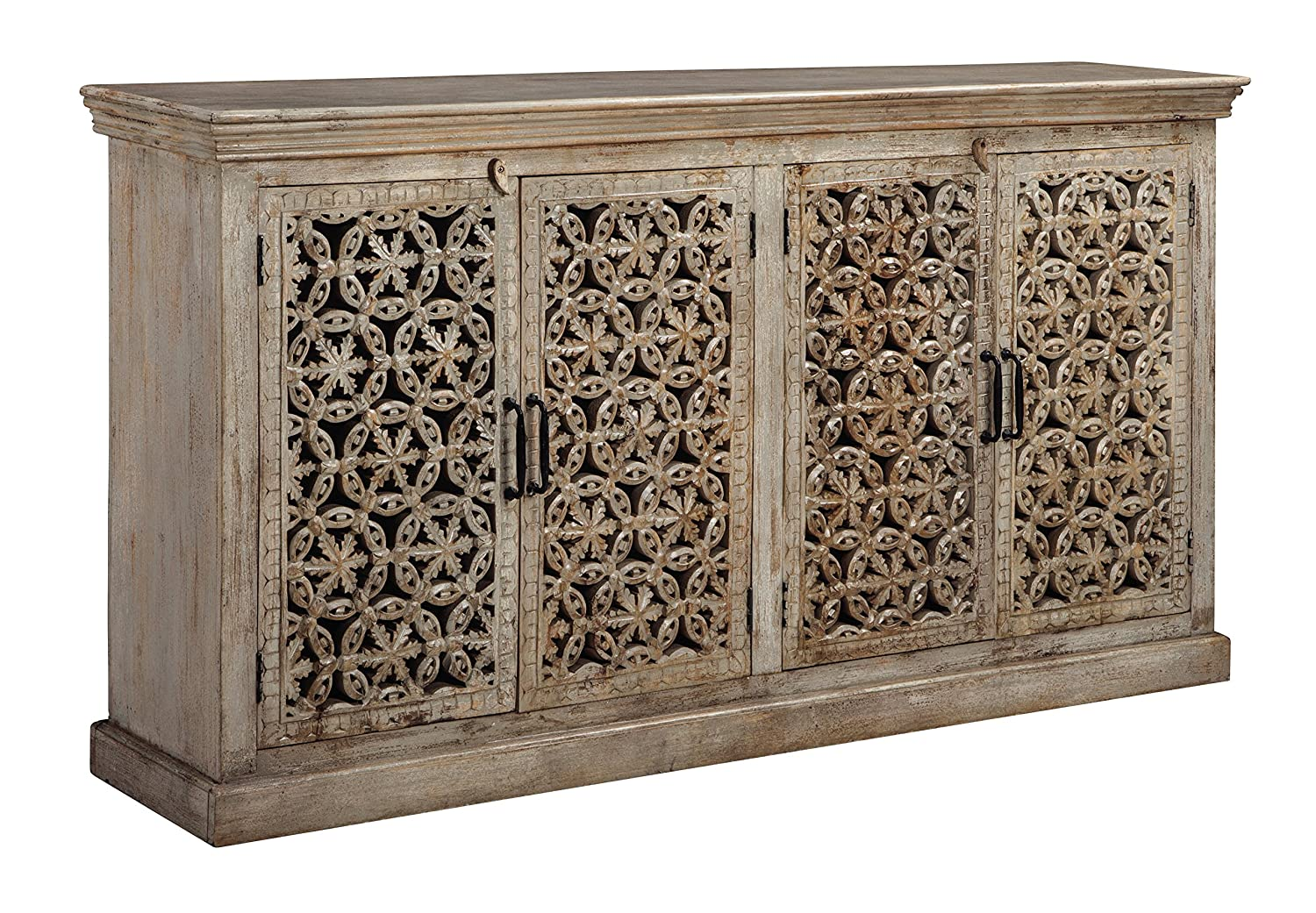 Amazon com ashley furniture signature design fossil ridge 4 door accent cabinet contemporary hand carved medallion pattern amber kitchen dining