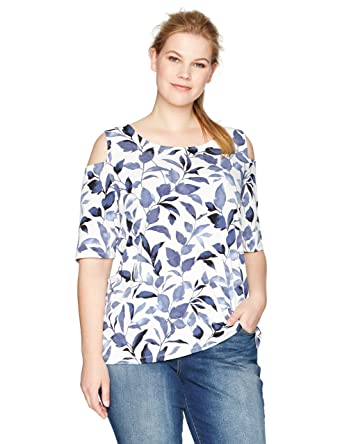 5e6a99c2ca2 Nine West Women s Plus Size Cold Shoulder Printed Ity Top at Amazon Women s  Clothing store