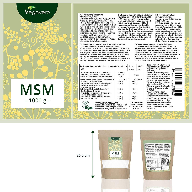 Vegavero MSM en Polvo 99% PURO + SIN ADITIVOS | 2000 mg | Antiinflamatorio + Articulaciones + Dolor Muscular + Alergias | Azufre Orgánico 100% Vegetal | 1 ...