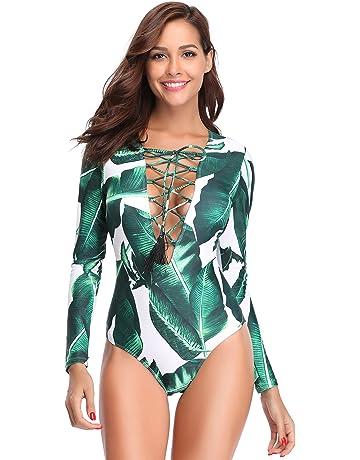 6085a049c MARINAVIDA Women One Piece Long Sleeve Swimsuit Deep V Neck Bathing Suit