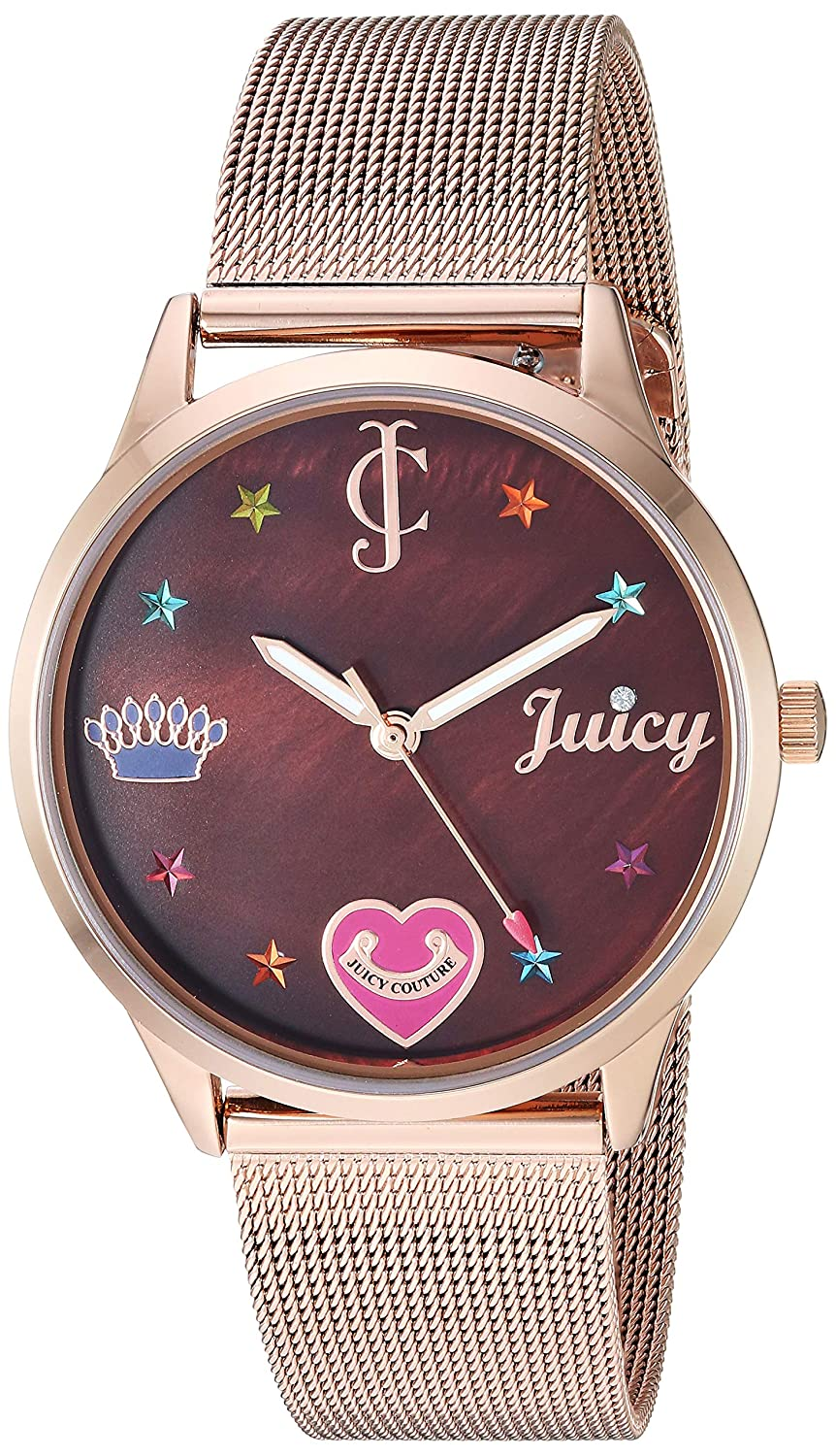 87b4beed323 Amazon.com  Juicy Couture Black Label Women s Rose Gold-Tone Mesh Bracelet  Watch  Watches