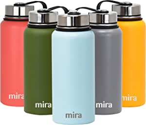 MIRA 32 oz Stainless Steel Vacuum Insulated Wide Mouth Water Bottle   Thermos Keeps Cold for 24 Hours, Hot for 12 Hours   Double Wall Powder Coated Travel Flask   Pearl Blue