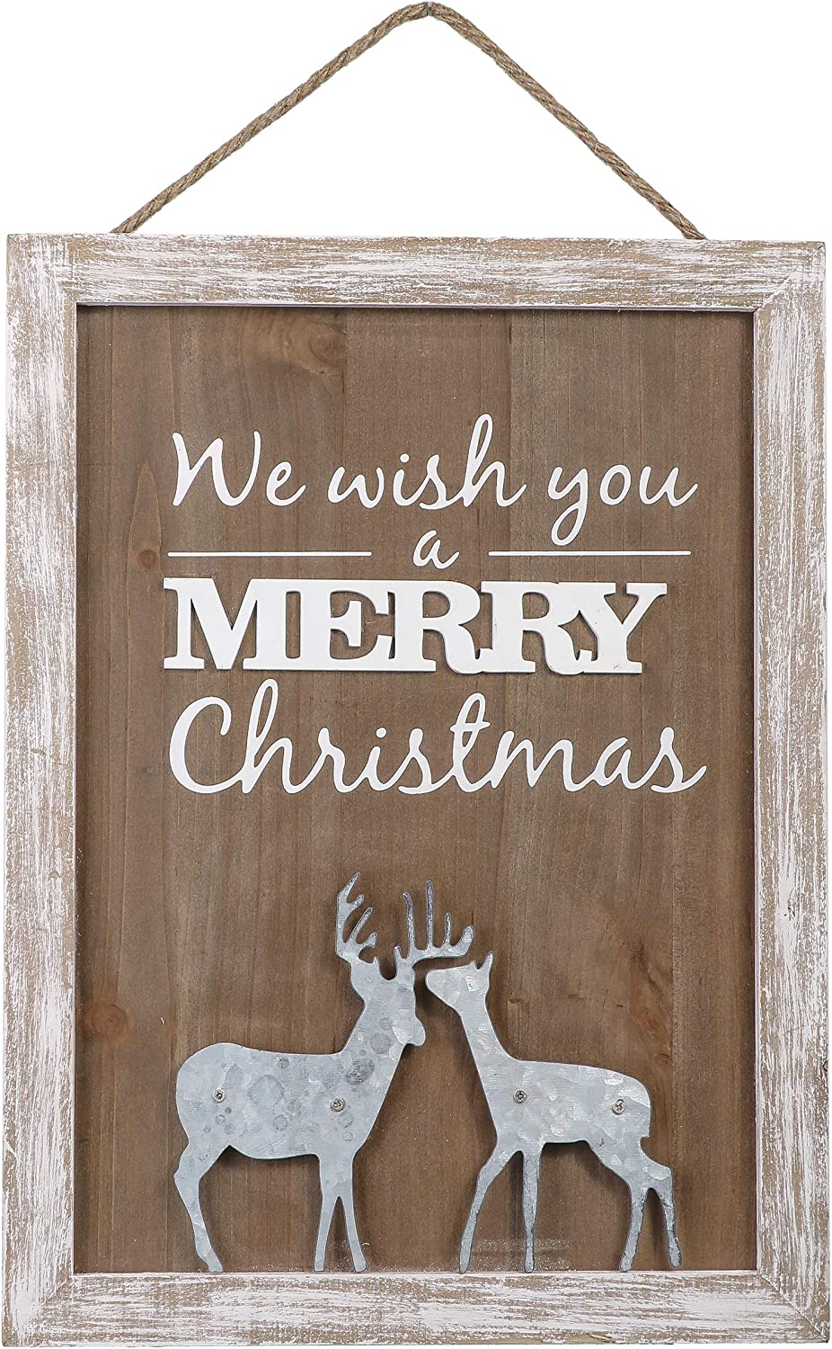 Valery Madelyn 16x12 inch Merry Christmas Wood Signs,Household Rustic Wooden Plaques,Decorative Hanging Wooden Sign Wall&Door Decor Art for Holiday Decoration