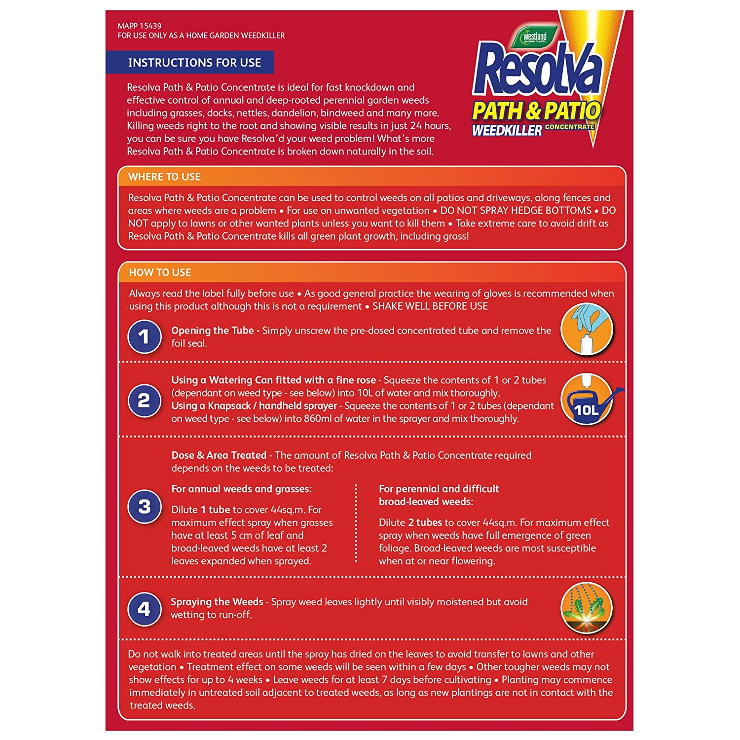 Resolva Path and Patio Concentrated Weed Killer Liquid Shots Tubes, 3 x 30 ml Westland
