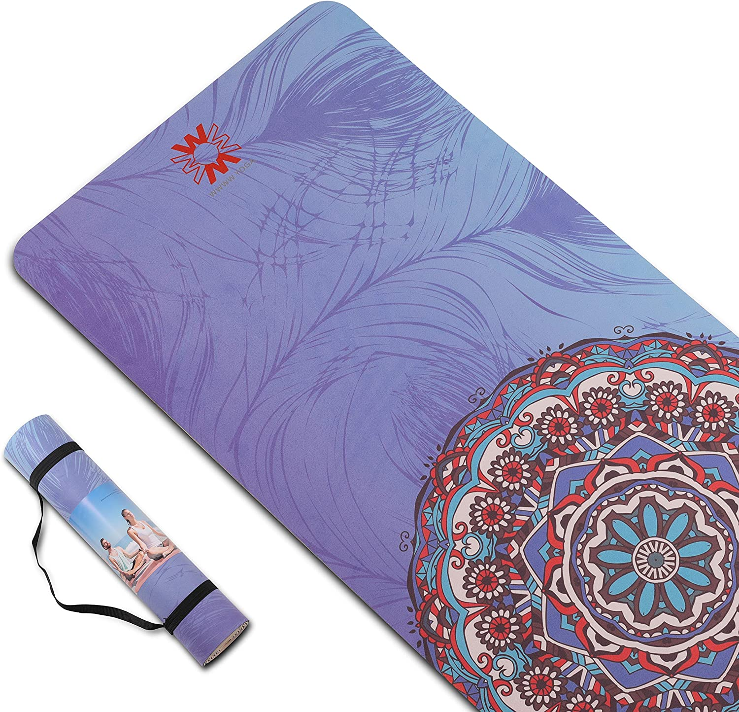 Yoga Mat Non Slip TPE Yoga Mats for Women and Men Thick Workout Mat with Bags and Carriers,Thick Exercise Mats for Home 72x 24 Thickness 1//4 or 1//3 for Yoga Pilates and Floor Exercises