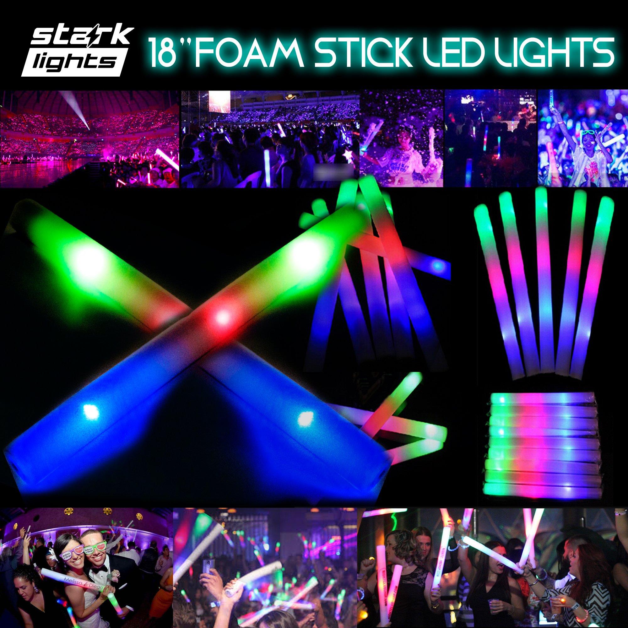 100 PCS Light Up 18'' Foam Sticks LED Wands Rally Rave Batons DJ Flashing Glow Stick by Stark (Image #2)
