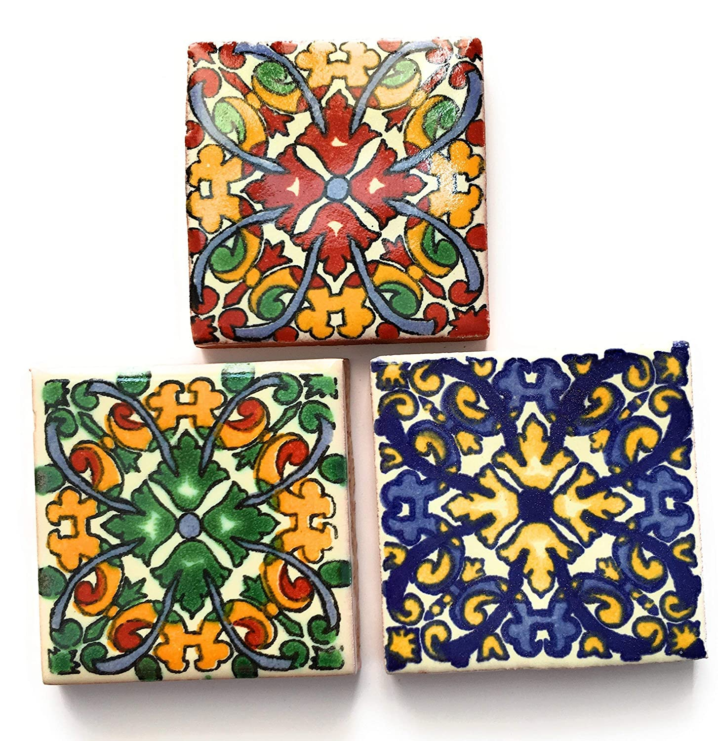 Mexican Tile Magnet, Set Of 3 Talavera 2 inch x 2 inch Fridge Magnets