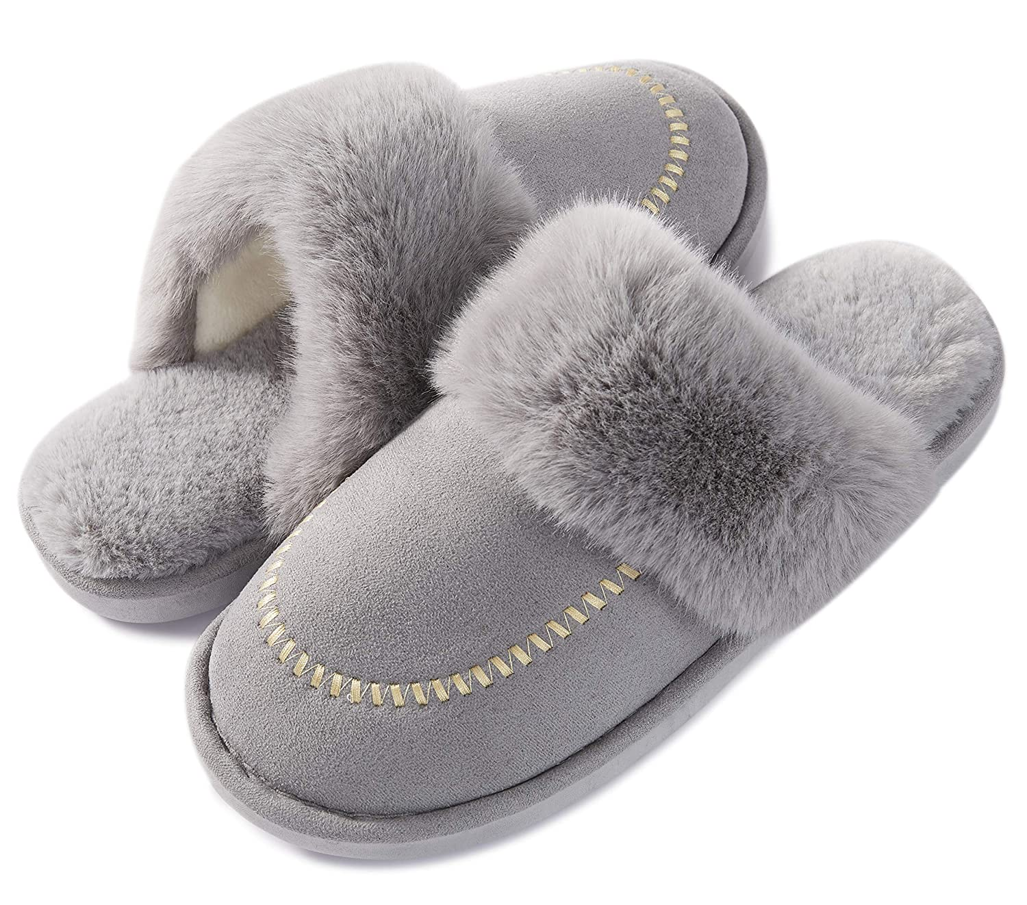 f78f9dc6040c4 Womens Slippers,Memory Foam Fluffy Warm Non-Slip Comfortable Slip-on House  Shoes,Plush Indoor & Outdoor Winter