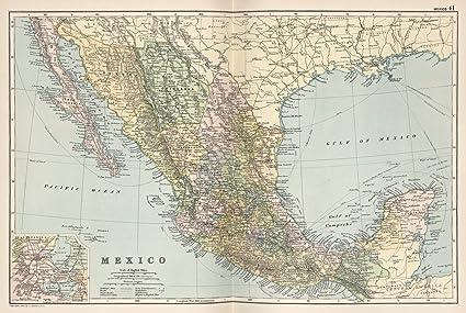 amazon com world atlas map mexico 41 1891 historic antique