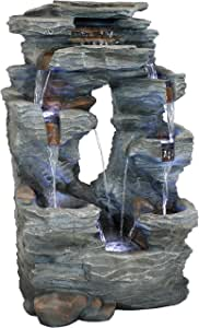 Sunnydaze Dual Cascading Rock Falls Water Fountain with LED Lights - Electric Submersible Pump - Patio, Lawn and Garden Waterfall Feature Decor - 39-Inch