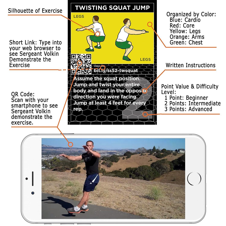 Stack 52 The Hiit Interval Workout Game - Juego de entrenamiento, diseñado por un militar experto en fitness, incluye vídeo con instrucciones (en inglés), ...