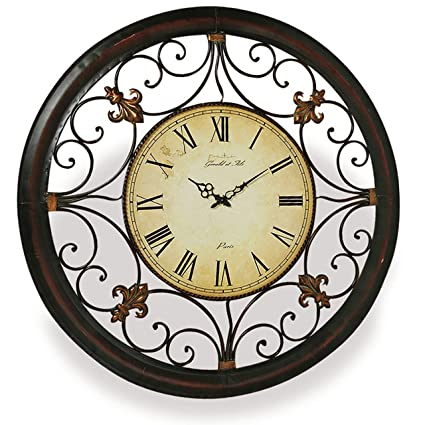 Tremendous Whw Whole House Worlds French Fleur De Lise Clock Round Wall Analog Time Piece Tonal Bronze Metal Work Over 3 Feet Diameter 36 1 4 Inches 1 Aa Download Free Architecture Designs Rallybritishbridgeorg