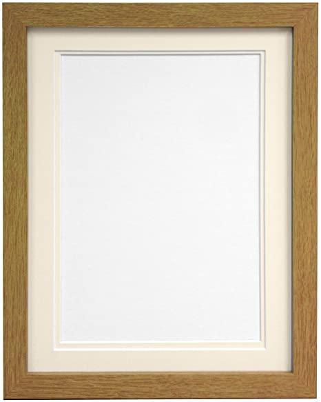 FRAMES BY POST H7 Picture Photo Frame, Wood, Oak with Ivory Double ...