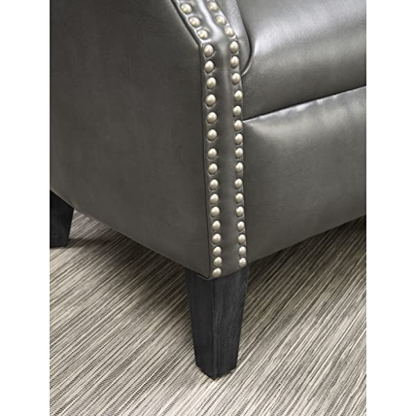 Emerald Home Oscar Gray Accent Chair with Faux Leather Upholstery And Nailhead Trim