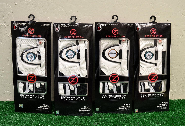 4ゼロ摩擦メンズLeft Handユニバーサルゴルフグローブ – Miami Dolphins – ホワイト   B077Y55JL3