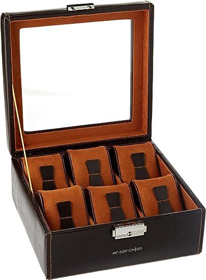 Friedrich Lederwaren 20085-3 - caja para 6 relojes, apariencia de cuero, con tapa de vidrio, 18 x 18 x 8.5 cm: Amazon.es: Relojes