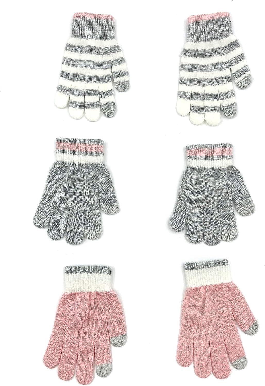 accsa Toddler Kid Boy Girl Winter Neon Stripe Touch Screen Magic Glove 3pc Set