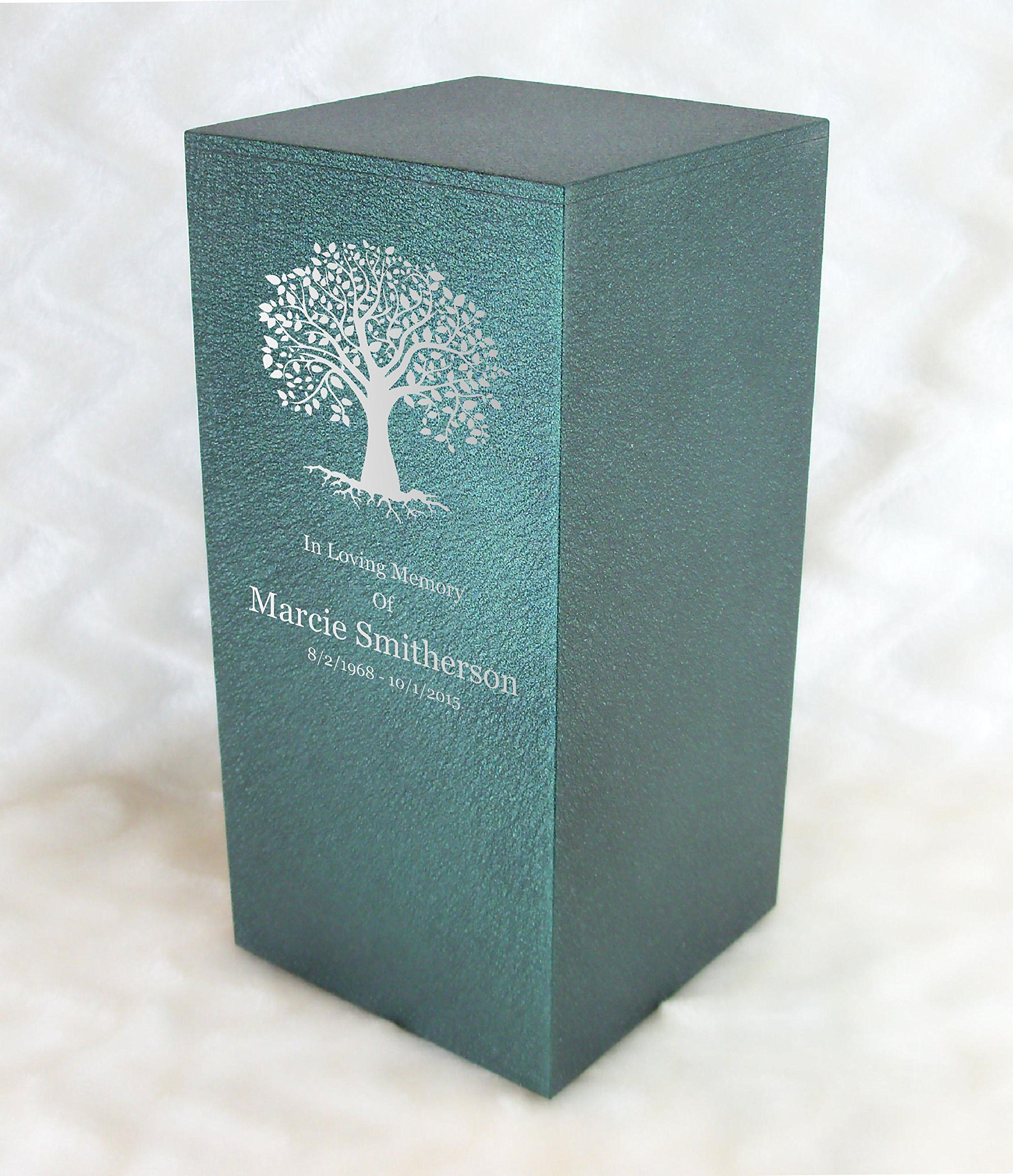 PERSONALIZED Engraved Tree of Life Cremation Urn for Human Ashes -Made in America- Handcrafted in the USA by Amaranthine Urns, Adult Funeral Urn -Eaton DL (up to 200 lbs living weight) (Forest Green) by Amaranthine Urn Company