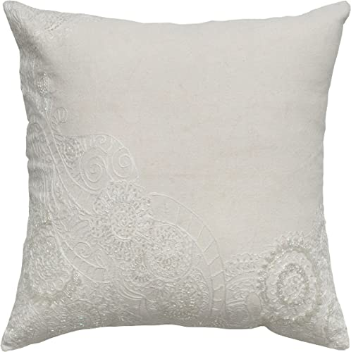 Rizzy Home T04901 Sequin and Beading Embroidery Decorative Pillow, 18 by 18-Inch, Ivory