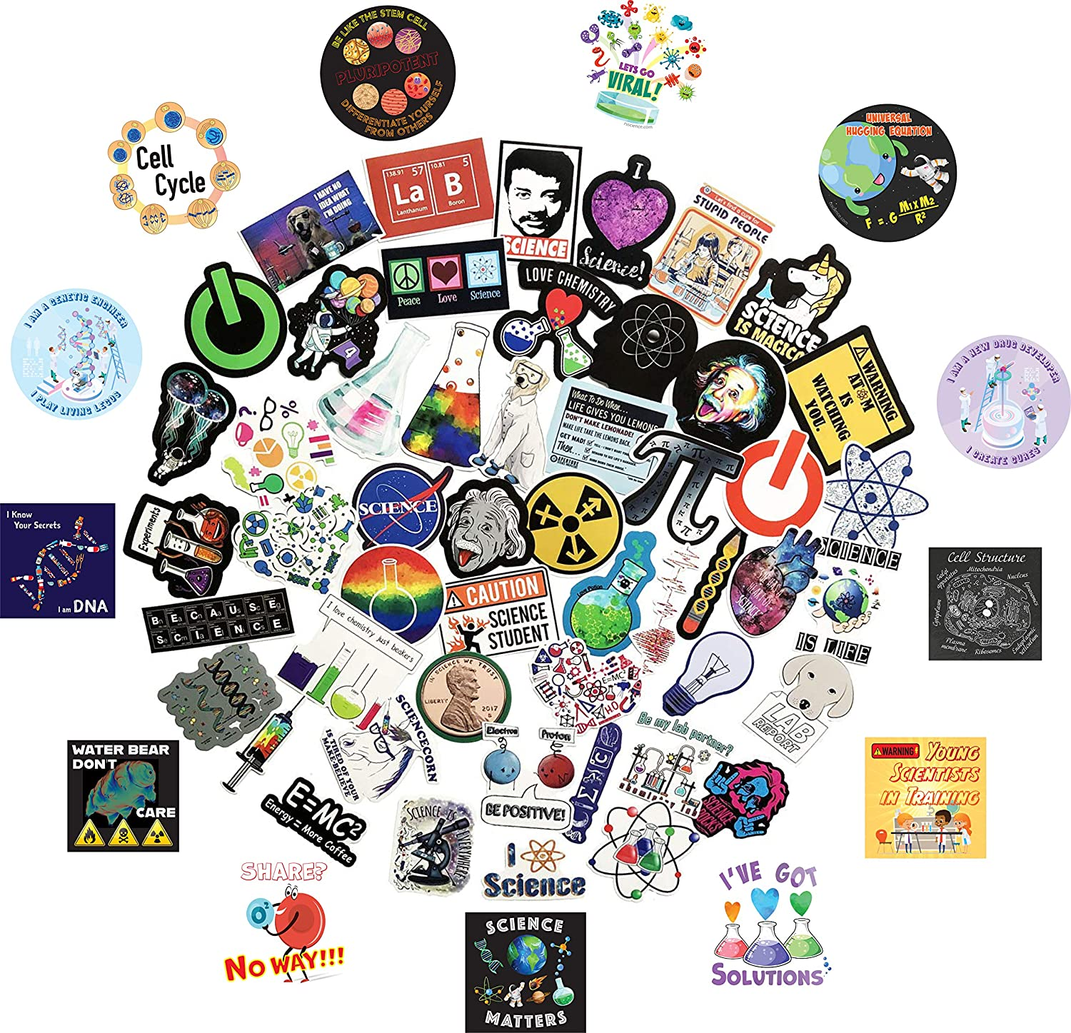 63pcs Funny Science Stickers Vinyl Decals for Classroom, Student, Laboratory, Physics, Chemistry, Biology Experiment, Math, STEAM Education, Teacher
