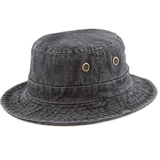 THE HAT DEPOT Unisex Washed Denim Foldable Bucket Outdoor Cotton Hat ... d9a92eb2657