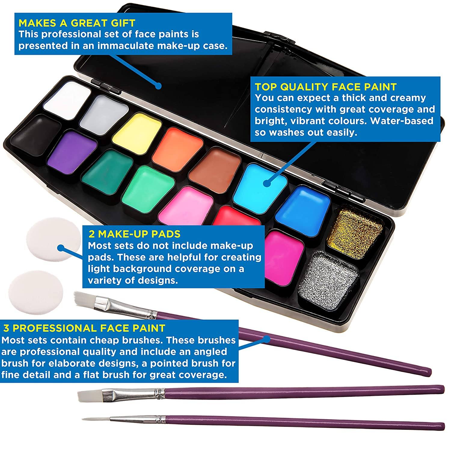 Face Paint Kit For Kids Big Bumper 16 Pack With Make Up Case Face