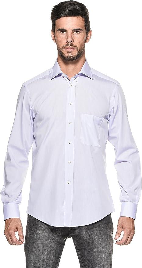 Camicissima Extra Slim Fit Camisa de Cuadros, Color Blanco y Lila IT 43: Amazon.es: Ropa y accesorios