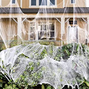 1000 sqft Stretch Spider Web for Indoor and Outdoor Halloween Decorations, Halloween Theme Party