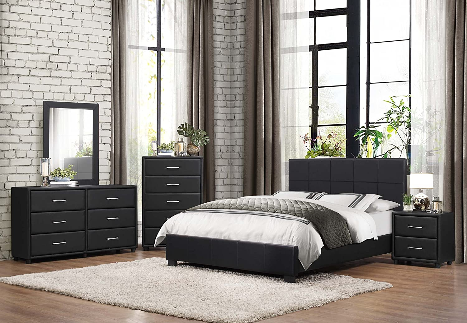 Amazon.com: Homelegance Upholstered Cal King Platform Bed Frame W/  Footboard And Headboard Faux Leather, Black: Kitchen U0026 Dining