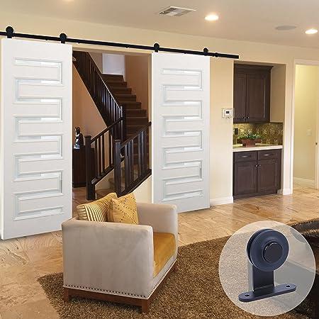 ccjh moderno T Estilo Granero de madera Track de hardware de doble puerta corredera: Amazon.es: Bricolaje y herramientas
