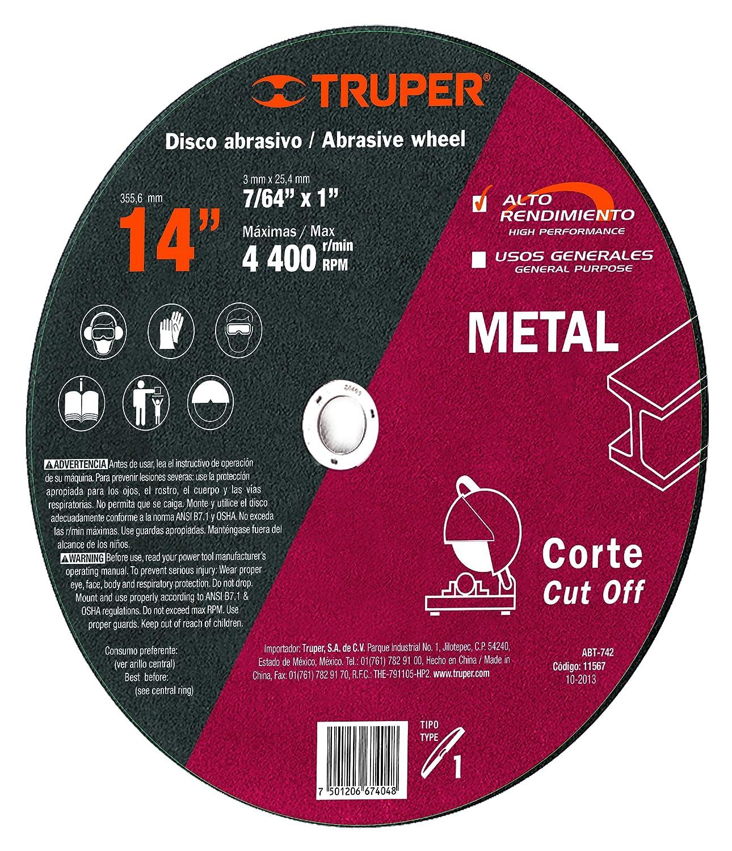 TRUPER ABT-742 Type 1 14' Metal and Aluminum Cut-Off Wheels, High Performance