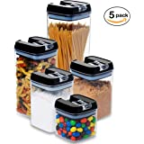 5 pc. Set Clear Food Containers w Airtight Lids Canisters for Kitchen & Pantry Storages - Storage for Cereal, Flour, Cooking - BPA-Free Plastic Black Lid by Guru Products