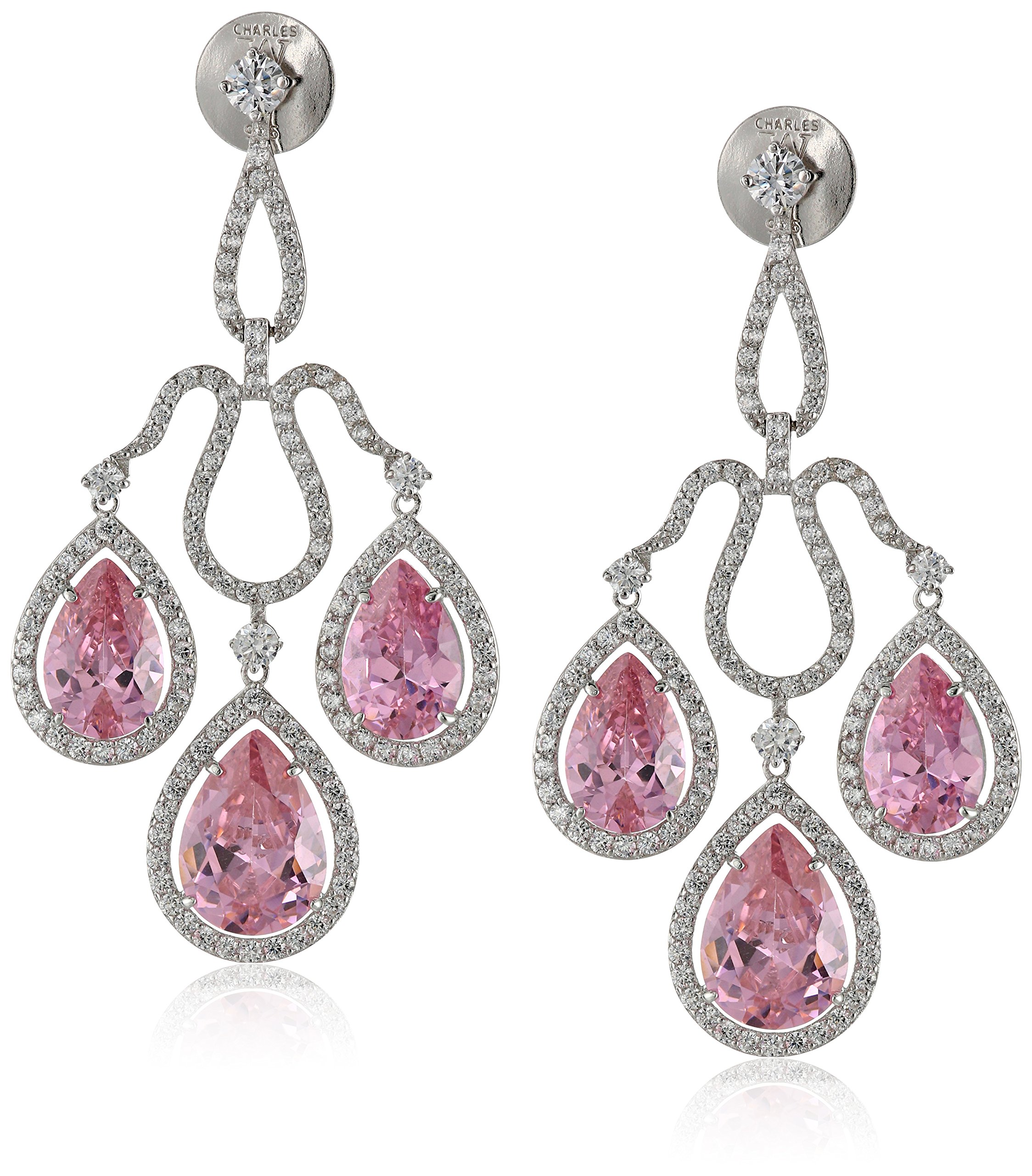 Charles Winston, S Silver, Pink & White Cubic Zirconia Chandelier Drop Earrings, 24.00 ct. tw.