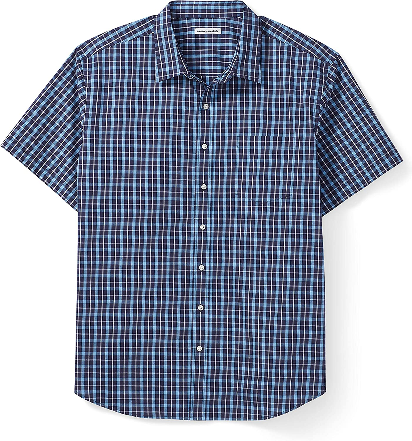 Essentials Men's Big & Tall Short-Sleeve Plaid Shirt fit by DXL: Clothing