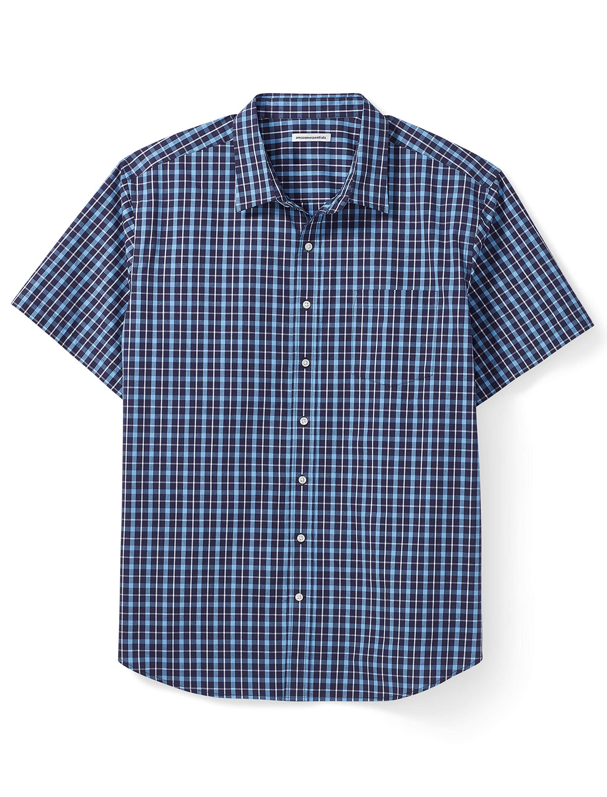 Amazon Essentials Men's Big & Tall Short-Sleeve Plaid Shirt fit by DXL, Navy, 3X by Amazon Essentials