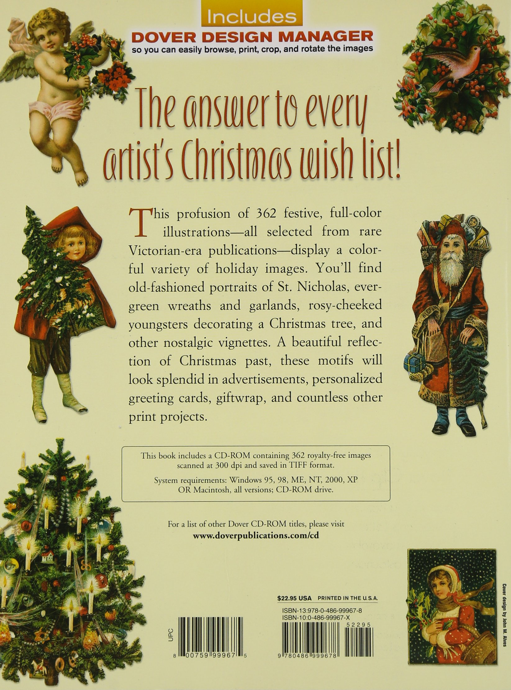 full color decorative christmas illustrations cd rom and book