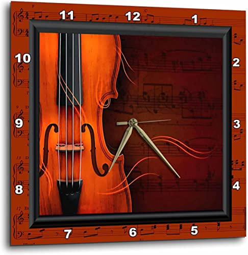 3dRose DPP_18390_3 Violin or Fiddle Wall Clock, 15 by 15-Inch