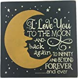 "Sara's Signs Handpainted 12""x12"" Wood Sign ""I love you to the moon and back again to infinity and beyond forever and ever"""