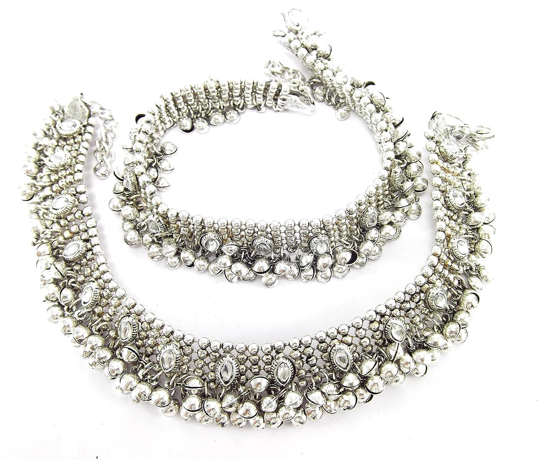 Buy Aria antique style diwali festive cz silver plated bridal ...