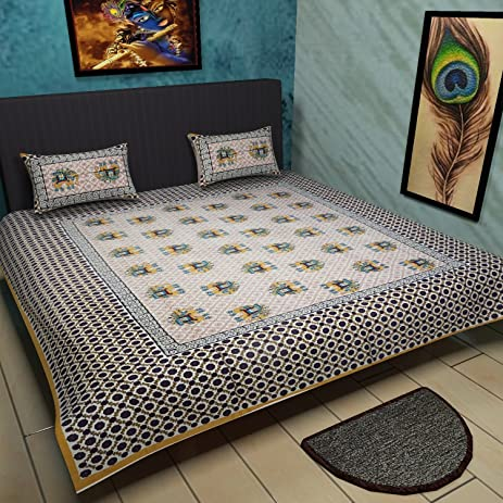 Traditional Mafia Ethnic Collection Printed Double Bed Sheet Set With 2  Pillow Covers, King,